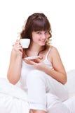 barn för kvinna för morgon för kaffekopp Royaltyfri Foto
