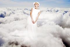barn för kvinna för sky för konstskönhetcollage arkivfoton