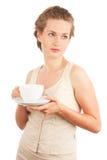 barn för kvinna för tea för kaffekopp Royaltyfria Bilder