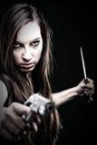 barn för kvinna för trycksprutahårkniv långt sexigt Arkivfoton