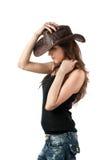 barn för lady för cowboyhatt Arkivbild