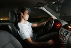 barn för man för bilkörning royaltyfri fotografi