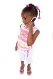 barn för materiel för förtjusande mobiltelefonflickafotografi plattform royaltyfria bilder