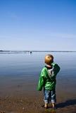 barn för pojkefiskelake Arkivfoto