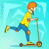 Barn för popkonst på en sparksparkcykel, push I speciala skydds-, hjälm-, armbåge- och knäblock En blond flicka eller en hippiegr stock illustrationer