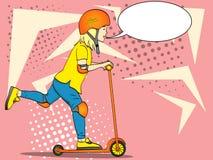 Barn för popkonst på en sparksparkcykel, push I speciala skydds-, hjälm-, armbåge- och knäblock Textbubbla stock illustrationer