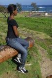 barn för puerto för afrikansk amerikanflickaplata Arkivfoton