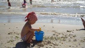 barn för sikt som 4K spelar i sand på den lyckliga caucasian lilla flickan för strand, unge som har gyckel med sandiga leksaker arkivfilmer