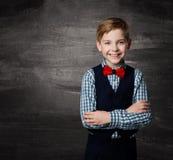 Barn för skolapojke, modestudent Kid, svart tavla arkivfoto