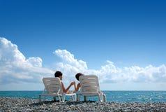 barn för strandmankvinna Royaltyfri Foto