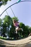 barn för swing för set för flickapark leka Arkivfoton