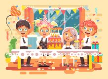Barn för tecken för vektorillustrationtecknade filmen, vänner, pojkar, flickor firar den lyckliga födelsedagen, att gratulera som royaltyfri illustrationer