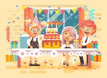 Barn för tecken för vektorillustrationtecknade filmen, vänner, pojkar, flickor firar den lyckliga födelsedagen, att gratulera som stock illustrationer