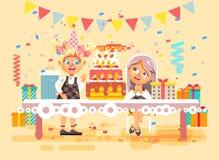 Barn för tecken för vektorillustrationtecknade filmen, vänner, två flickor firar den lyckliga födelsedagen, att gratulera som ger stock illustrationer
