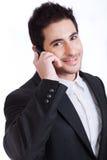 barn för telefon för man för ett affärsfelanmälan stiligt arkivbild