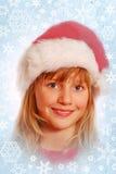 barn för tid för snow för flicka för arounjulflakes Arkivfoto