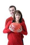 barn för valentin för ballongpar heartshaped Fotografering för Bildbyråer