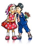 barn förbunde att kyssa som är litet Arkivfoto