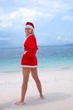 barn för kvinna för stranddräkt s santa Arkivbild