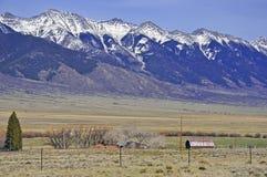 Barn and Farm in American West scene, USA Stock Photo