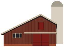 Barn for a farm. A large barn for a farm with a silo tower. Vector illustration stock illustration