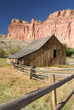 Barn and fence. Scenic view of Gifford farm in Capital Reef National Park Stock Photos