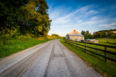 Barn and fence along a dirt road, near Jefferson in rural York C Stock Images