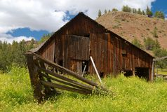 Barn, Fence, and Wildflowers Royalty Free Stock Photography