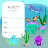 Barn festar djur, fiskar och växter för havet för inbjudankortmallen färgrika Arkivbilder