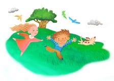 barn field att leka Arkivbilder
