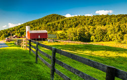 Barn and fields on a farm in the Shenandoah Valley, Virginia. Stock Photography
