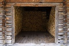 Barn filled with wood Royalty Free Stock Photography