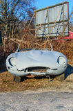 Barn Find - Jaguar XKE. Vintage Jaguar XK Type E barn find amid leafless plants in winter sunlight. Rusted and dented body, no headlamps, no windscreen or roof Stock Photos
