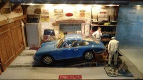 Porsche 901 garage scale diorama Royalty Free Stock Photo
