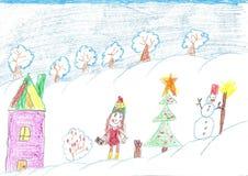 Barn firar jul utomhus tecknande faderson Fotografering för Bildbyråer