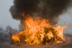 Barn fire. A barn engulfed in flames Royalty Free Stock Photography