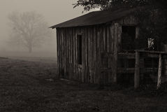 Barn in the Fog Royalty Free Stock Photography