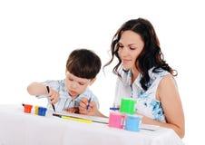 Barn fostrar och sonen Arkivbilder