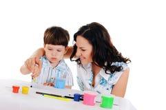 Barn fostrar och sonen Arkivfoton