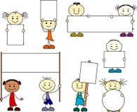 Barn från olika nationer som rymmer banret royaltyfri illustrationer