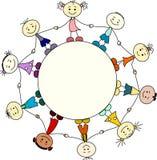 Barn från olika nationer som rymmer händer royaltyfri illustrationer