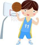 barn för unifor för sportar för basketpojkeholding slitage Royaltyfri Fotografi