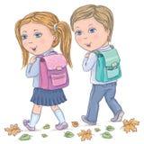 barn går skolan till Arkivbild