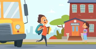 Barn går till skolan Bakgrund av tillbaka till skolan royaltyfri illustrationer