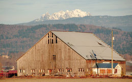 Barn and Garibaldi Mountain Range Royalty Free Stock Images