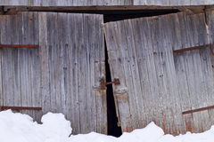 Barn gate in winter Royalty Free Stock Image