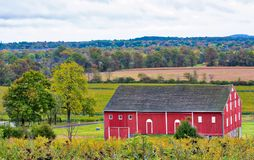 Barn on the Gettysburg battlefield. A gorgeous sky provides the background for the Civil War barn at Gettysburg, Pennsylvania stock photo