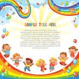 Barn glider ner på en regnbåge Berg-och dalbanaritt mall royaltyfri illustrationer