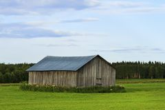 Barn for grain in the field royalty free stock image