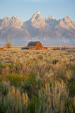 Barn and Grand Tetons Royalty Free Stock Images